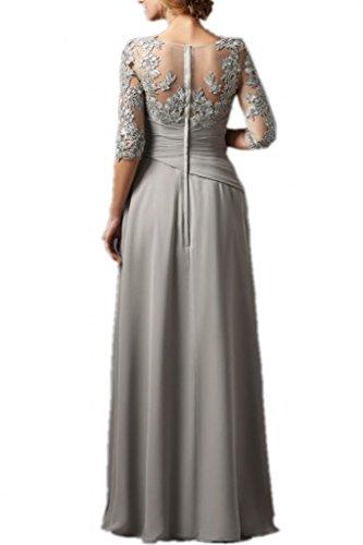 Promgirl House Damen Charmant Chiffon Spitze A-Linie Hochzeits Abendkleider Ballkleider Lang mit Aermel Wassermelone
