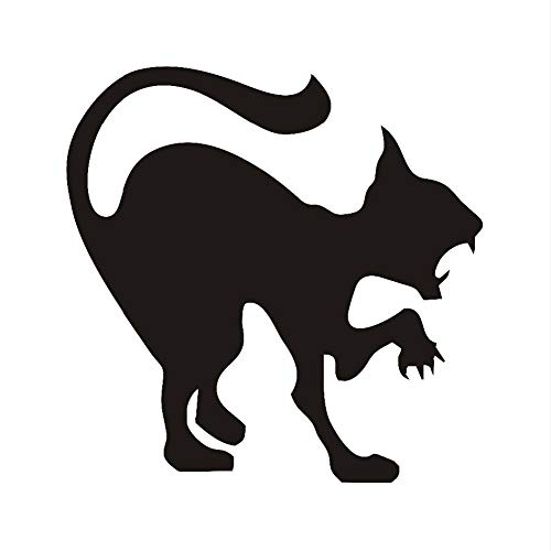 RQGPX Wandaufkleber Scary Black Cat Halloween Dekoration Katze Vinyl Applique Wandkunst, Wütende Katze Halloween Wohnkultur Zubehör 59 * 59 cm