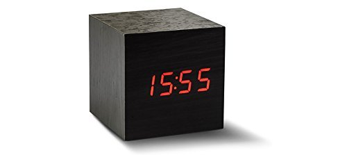 Ginkgo Maxi Cube schwarz Click Uhr mit Rot LED