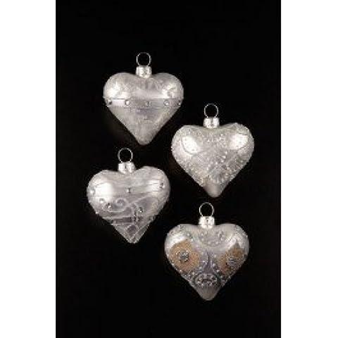 4 bolas de cristal en forma de corazón