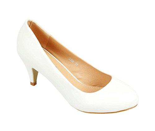 Klassische Damen Pumps Stilettos Abend Schuhe Party Hochzeit 33-2 Weiß