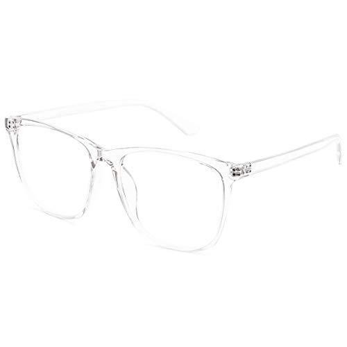 H.Yue Blue Light Blocking Glasses for Computer Use, Anti Eyestrain UV Filter Lens Lightweight Frame Eyeglasses (Transparent)