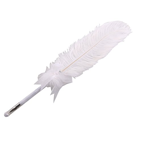 PIXNOR 40cm Bowknot Rhinestone Feather Pen Ivory Feather Pen Wedding Signing Pen Guest Book Pen