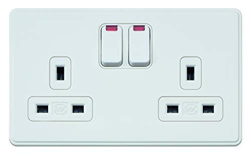 MK Dimensions 2-Gang, 13 A, mit Neon-DP-Doppel-Erdungsschalter, Weiß -