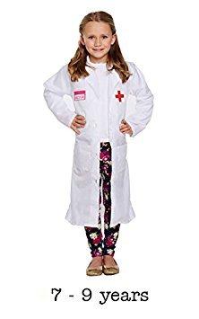 Kinder Doctor Mädchen Coat FANCY Kleid Kostüm (Outfit Kinder Arzt)