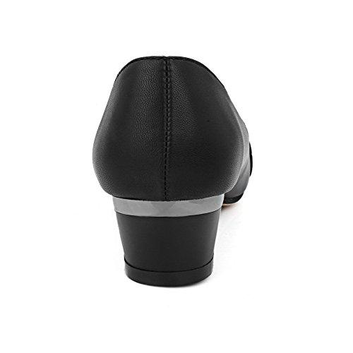 AllhqFashion Femme Tire Pointu à Talon Bas Matière Mélangee Mosaïque Chaussures Légeres Noir