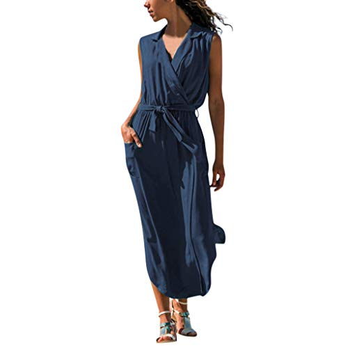 Sonnena Frauen beiläufiges Sleeveless festes Kreuz V-Ausschnitt Taschen Gürtel lose Maxi langes Kleid Women's Knitted Kleider and Belt Casual Sleeveless Solid Cross Pockets Dress