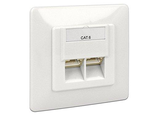 Preisvergleich Produktbild DELOCK Netzwerk Dose 2xRJ45 LSA Unterputz Cat.6