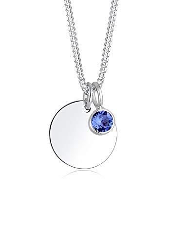 Elli Damen-Halskette mit Anhänger Geburtsstein September silber 925 Swarovski Kristall blau 0101842617_45 - 45cm Länge