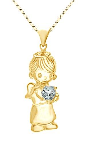 AFFY  -  925 Sterling-Silber  18K gelbvergoldetes Silber Rundschliff   blau Aigue-marine