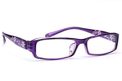 NEW UNISEX (Damen Herren) Flower Blumen Retro Vintage Lesebrille Brille +0.50 +0.75 +1.0 +1.5 +2.0 +2.5 +3.00 +4.00 Reading glasses Morefaz(TM) (+2.00, Purple)