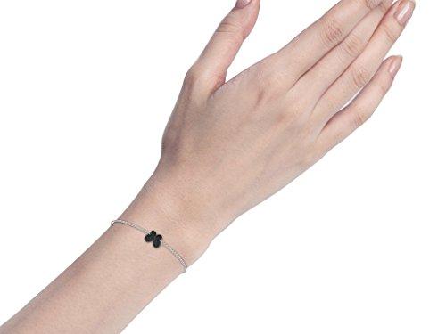 Or Blanc 9 ct Bracelet Diamant en forme de papillon, 0.11 Ct Diamant, GH-SI, 0.66 grammes.