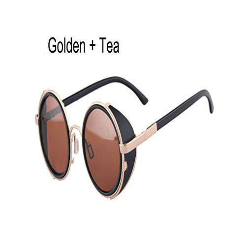 FGRYGF-eyewear Sport-Sonnenbrillen, Vintage Sonnenbrillen, Vintage Women Steampunk Retro Coating Men Round Sunglasses Punk Sun Glasses UV400 Golden Tea