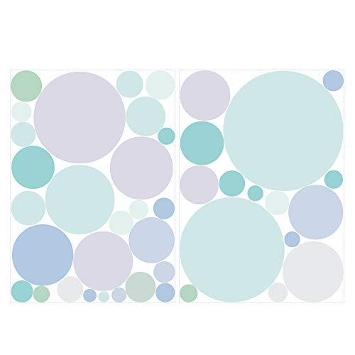 Wandtattoo 40 Kreise in zarten Pastellfarben Dekokreise Kinderzimmer Wandsticker Aufkleberset/Pastell-blau /