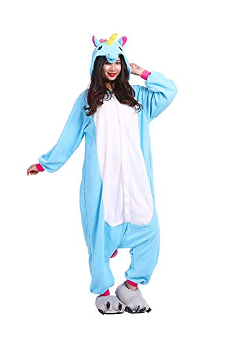 Kidslove Pyjama Tieroutfit Tierkostüme Schlafanzug Tier Onesize Sleepsuit mit Kapuze Erwachsene Unisex Jumpsuits Overall Damen Herren Pyjama Fleece,Einhorn,Gr.L