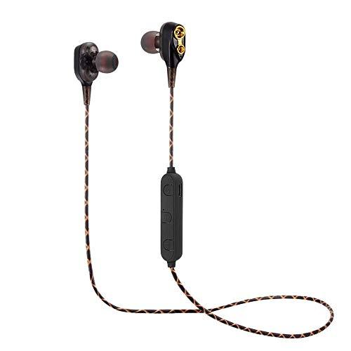 opfhörer In Ear Sport V4.2 HiFi Schwere Bässe Dual Dynamic Sport Ohrhörer mit 10 Meter Reichweite, eingebautes Mikrofon für iPhone, Huawei und Samsung (Schwarz) ()