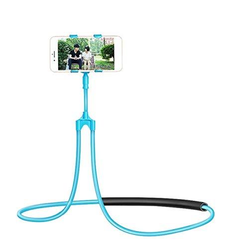 CRSM Flexible Handyhalterung Hängenden Hals Faul Halskette Halterung Bett 360-Grad-Smartphone-Halter Für iPhone Hirse Huawei Blau