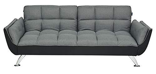 Enrico coveri contemporary divano letto 3 posti elegante con funzione letto in tessuto trapuntato, dimensioni: 215 x 84 x 81 cm (grigio)