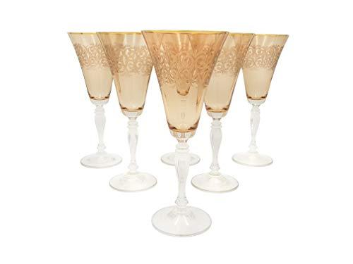 Bohemia Kristall Gläser, Model Victoria, Gold Gravur, Bernstein (Rotweingläser 6 x 300 ml) -