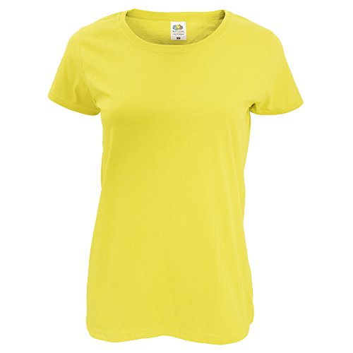 Fruit Of The Loom Damen Lady-Fit T-Shirt, kurzärmlig Gelb