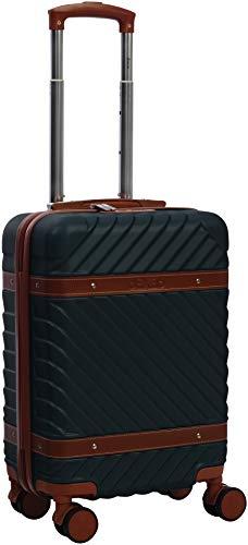 Carry-on, Cabin case, Valigia a mano 55 cm Design con pelle Hard Shell 4 ruote doppie con serratura omologata TSA, Bagaglio da viaggio ; Bagaglio a mano (Verde militare, 20 pollici)