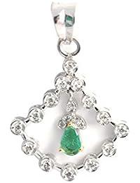 Emeralds Bazar Triangle Shape 0.3 Cts Pear Cut Emerald Drop Pendant 925 Sterling Silver For Women Jewellery