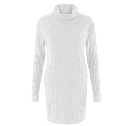 Ouneed® Femme Uni Sweater Pull en Tricot Col roulé Blouse Blanc