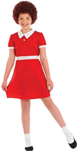 Halloweenia - Mädchen Kostüm Waisenkind mit Kleid, Gürtel und Perücke , 128/134, Rot (Das Waisenkind Film Kostüm)