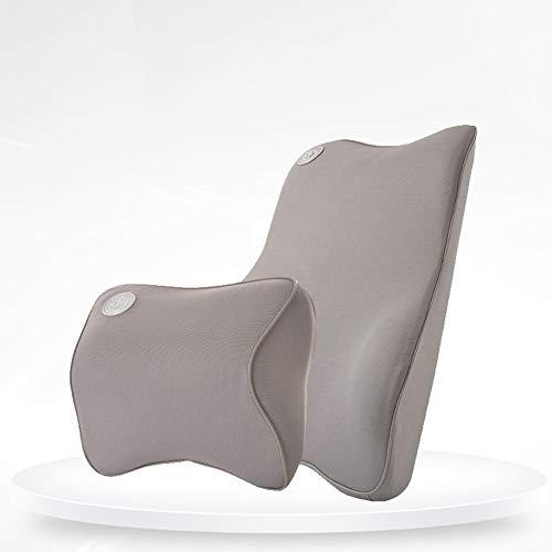 YHL Aufblasbares Kissen, Memory Cotton Auto Rückenlehne Taillenpolster Nackenkissen + Taillensatz Geeignet für den Einsatz im Auto,Gray
