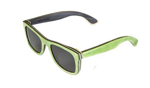 amoloma Holz Sonnenbrille Skateboard grün Der Rahmen der Brille besteht aus Skateboard Holz/wayfarer style