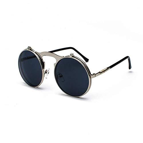 AMXZP Sunglasses Vintage Steampunk Flip Sunglasses Retro Round Metal Frame Sun Glasses for Men Women Circle Glasses