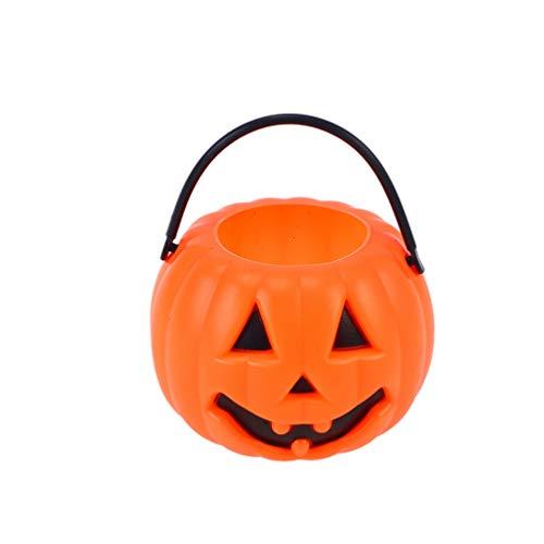 Kürbis Eimer - Uonlytech Kürbis-Bonbon-Eimer, tragbarer Halloween-Bonbon-Eimer mit Henkel,