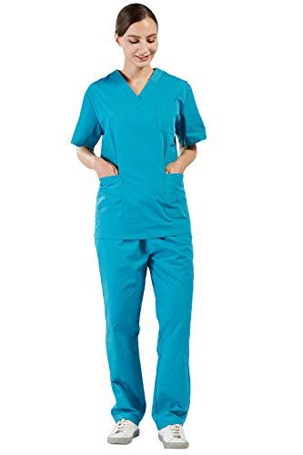 Uniform Scrub Top (Nanxson Damen Schlupfkasack Schlupfjacke Lab Medizin Uniform Scrub Top und Hose Set Berufskleidung CF9027 (L, Dunkle Cyan für Frauen))