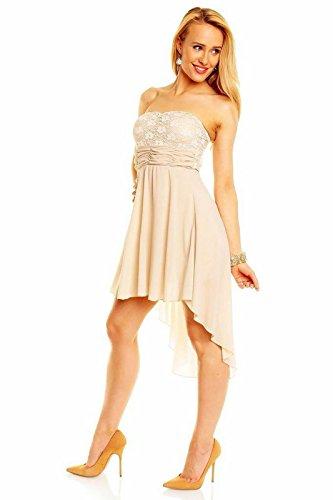 Damen Bandeau Party Kleid Vokuhila Kleid Elle mit Spitze Kleid Mini Kleid Beige (Spitze Elle)