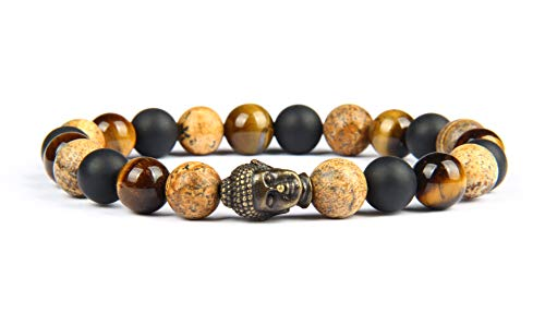 Good.Designs ® Buddhismus Perlenarmband aus echten Natursteinen mit Buddhakopf (Steinmix) Buddhismusarmkette Energiearmkette Steinarmband Health Healing Damenarmband Herrenarmband Unisex