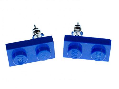 Lego Ohrstecker Miniblings Stecker Ohrringe Spielzeug Baustein blau Rechteck