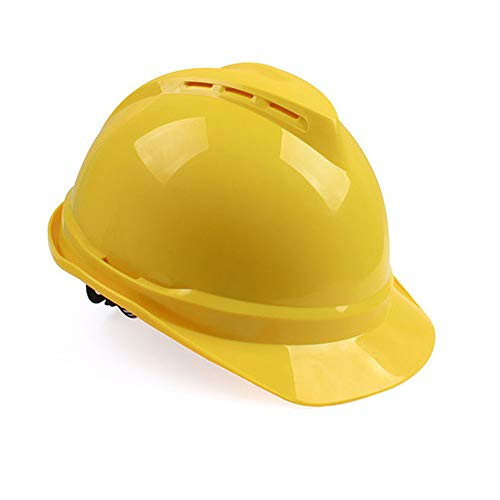 BYAQM Casco ABS De Alta Resistencia A Los Impactos, Construcción En Sitios De Construcción, Casco Transpirable Y Ajustable (Color : Amarillo)