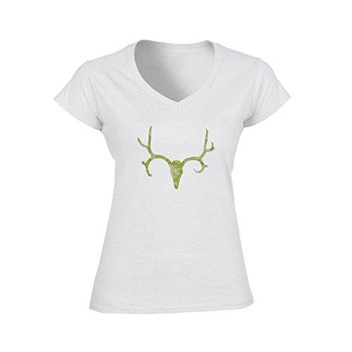 Deer Animal Wood Creature Horns Green Skull Damen V-Neck T-Shirt Weiß