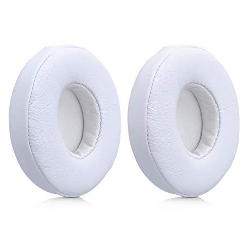 kwmobile 2x auricolari di ricambio per Beats Solo 2 Wireless / 3 - cuscinetti sostitutivi cuffie over ear in similpelle per Beats - bianco