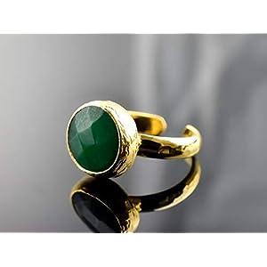 Edelstein Ring | Grüner Achat | größenverstellbar & geeignet für alle Fingergrößen | vergoldet | kreisförmig | Exklusive Schmuckschachtel Geschenkverpackung | tolle Geschenkidee