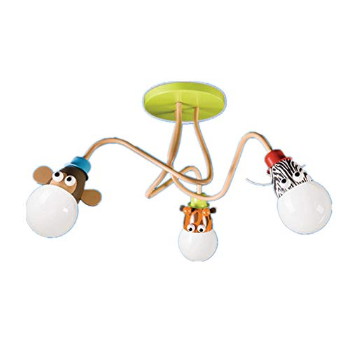 Deckenleuchte Cartoon Kinderlampe Schlafzimmerlampe Schmiedeeisen E27 Kinder Spaß Kindergarten Decke Kronleuchter Zoo Guter Freund Drei Kopf Lampe (Birne Nicht Enthalten)