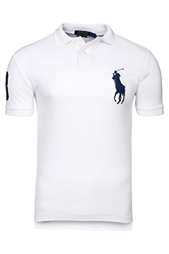 Ralph Lauren polo da uomo BIANCO manica corta Big Pony slim fit (XL)