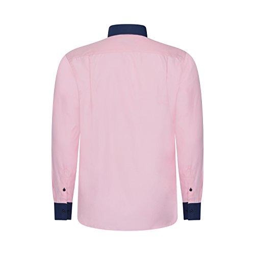 Robelli Herren Detail Plain Kleid Hemden/Hemd & Krawatte Kollektionen - Qualitäts Baumwolle oder Satin Style No. 5 - Pink