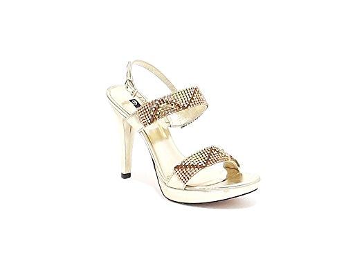 Barachini sandalo gioiello donna tacco alto in pelle laminata con strass colore platino