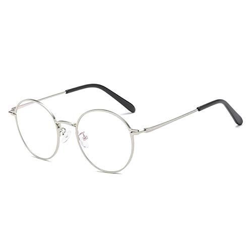 Yangjing-hl Metall runden flachen Spiegel Retro Schlaganfall Trend Brillengestell Mode Brillengestell