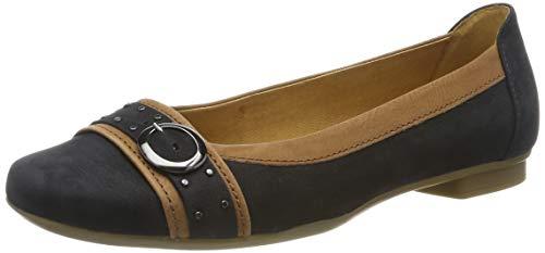 Gabor Shoes Damen Casual Geschlossene Ballerinas, Blau (Nightblue/Cognac 16), 38.5 EU (Casual Schuhe Frauen)