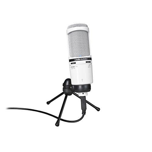 Audio-Technica AT2020USB+WH Micrófono USB cardioide de condensador, color blanco