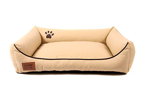 Hundebett Kunst Leder Luxus Hundebett Hundesofa Katzenbett Hundekorb S M L XL XXL XXXL Dollaro (XXL ( ca. 120x90 cm), beige)