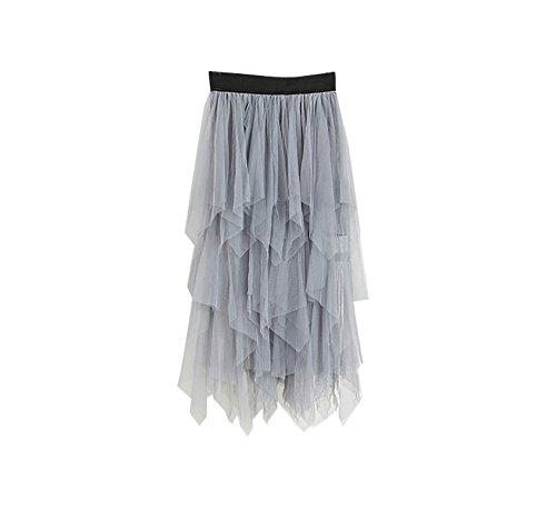 Damen Skirt High Waist Package Hip Skirt Irregular Kleid Unregelmäßige Schnitt Gaze Tutu Rocke Unique Röcke Hellgrau