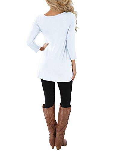 3/4 Langarm T-shirt Kleid Damen Rundhals Casual Oberteile,einfarbig,Baumwolle,mit Knöpfe Weiß